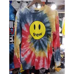 Dibujo de algodón online-[Imagen real] Drew House camiseta de manga larga 2019 The New Tie Dyeing Drew House camisetas Mejor calidad algodón Dre