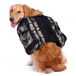 Grandi cani trasportano borse online-Outdoor Canvas regolabile Camouflage Dog Backpack Borsa a tracolla Borsa da sella Training Camping Trekking Trekking Training Grande spazio Carrying Food Dri