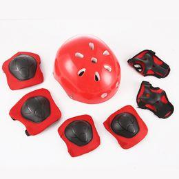 rodilleras protectoras niños Rebajas 7Pcs / set Kid's Skateboarding Protective Casco Codo Rodilla Palm Pads Guardia niños Azul / Rosa / Rojo