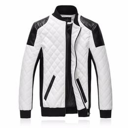 Nuovi uomini di marca slim bomber giacche moda casual plaid giacca in pelle pu jaqueta de couro nero bianco plus size 5xl 6xl da