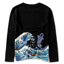 Uomini tatuaggi punk online-Marca giorno di marea all'ingrosso Wukong, vento cinese carpa stampato grande codice cotone tatuaggio punk manica lunga t-shirt da uomo