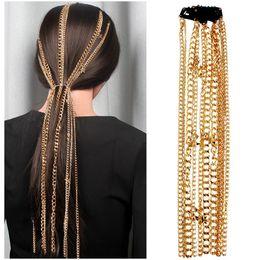 Borla de grampo de cabelo de ouro on-line-Cabelo Punk Gold Star metal Tassel grampo de cabelo de mulheres Cadeia Acessórios Hip Hop Acessórios
