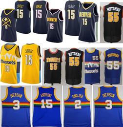 2cf3552f5 Hombres 15 Nikola Jokic Denver Nuggets Jersey   3 Allen Iverson 55 Dikembe  Mutombo 15 Carmelo Anthony 100% jerseys cosidos Mezcla universitaria