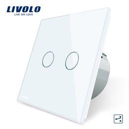 interruttori luminosi livolo Sconti Livolo Standard EU Touch Switch, 2 Gang 2 Way Control, 3 colori Crystal Glass Panel, Wall Light Switch