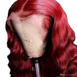 Remy spitzeperücke 99j online-Rot gefärbte 360 Frontal Perücken 13 x 6 tiefe volle Lace Front Echthaar Perücken lose Welle brasilianischen Remy 99J Burgund für schwarze Frauen