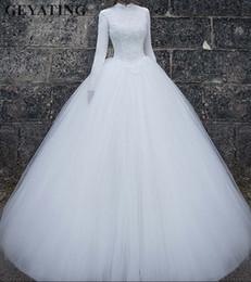 2019 tüll geschichtetes modernes hochzeitskleid Arabisch Langarm Muslim Brautkleid mit Hijab 2019 Weißes Stehkragen Ballkleid Arabische Brautkleider Plus Size Vestido De Noiva