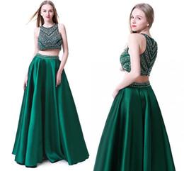 2019 vestido de saia destacável chiffon frisado Custom Made Off The Shoulder verde escuro frisados 2 Pieces Prom Dresses 2019 até o chão Prom vestido de festa Moda Vestidos