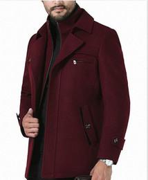 Mens inverno tinta unita lungo cappotti bavero bottone cerniera stile business moda Hoome Abbigliamento casual Corta Vento da
