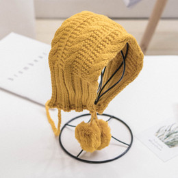 Chapéu de boina bebê tricô on-line-1-6T Moda Newborn Infant Baby Girl Boy Hat Kid Quente Knit Hat Beanie Fur Pom Pom Beret Crochet Hemming Caps Casual