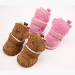 милые свадебные туфли Скидка Зима теплая обувь для собак 4 шт./компл. симпатичные собака сапоги снег ходьба хлопок смесь щенок кроссовки Зоотовары собака носки пинетки