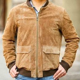 dünne braune lederjacke Rabatt 2016 Spanien einfacher braune Schweinehaut Wildlederjacke Leder Fliegerjacke Männer-Stil für Männer dünnes Leder Pilot