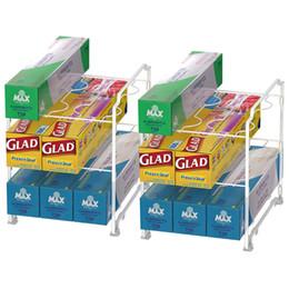 Canada Support pour organisateur d'enveloppes de cuisine - 2 PAQUETS Magasin empilable pour rouleau de papier ciré standard, sac à ordures, emballage de nourriture en plastique et papier d'aluminium, etc. supplier paper stores Offre