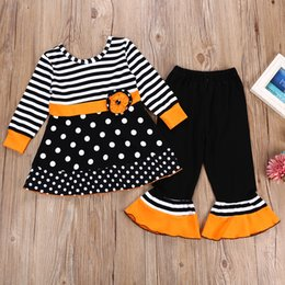 Gonne lunghe di mutande online-Completi per costumi di Halloween per ragazze al dettaglio Set di abiti da 2 pezzi (gonna a maniche lunghe a righe + pantalone flare) set di abbigliamento per ragazze di tute di design per bambini