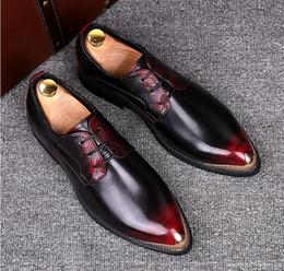 Vestido de caballero online-Zapatos de vestir de los hombres de gran tamaño con estilo italiano Blucher Oxford Shoe Gents Outfit Party Boda Cuero Hombre Calzado
