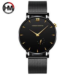 Relógio impermeável e fino on-line-Simplicidade dos homens Relógio de Quartzo Cinto De Malha de Aço Inoxidável À Prova D 'Água Ultra-fino Relógio Calendário Pequeno Segundo Relógio de Moda