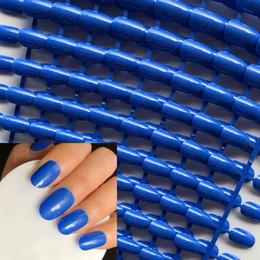 blaue runde süßigkeit Rabatt Großhandel UV Gel Abdeckung Candy Falsche Nägel Perle Glänzend Saphirblau Rundkopf Nagelspitzen Full Wrap Gel Nagel # 24