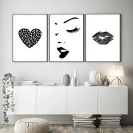 2019 imagens de heart art Coração preto e branco Lábios Abstract pintura da lona Posters Poster arte e pinturas Prints Pictures decorativa moderna Vivo imagens de heart art barato