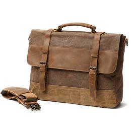 Vintage Oil Wax Canvas Men Handbag Waterproof Male Shoulder Bag Canvas  Leather Briefcases 14 inch Laptop Unisex Messenger Bags 5eded927b9f6c