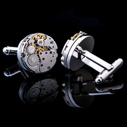 Classic Gold-color Steampunk Bottons for Mens With Box French Shirt Cuff Mechanical Watch Movement Cufflinks desde fabricantes