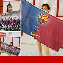 Schalsteams online-Barcelona Team Print Badetuch Mode Outdoor Fußball Sport Schweiß Handtuch Weiche Bequeme Quadratische Schal Beach Party Handtuch