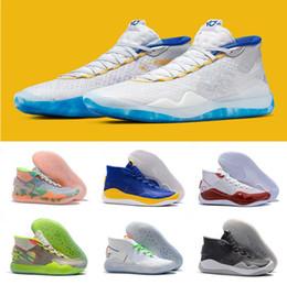 2019 кд домашняя обувь 2019 Новый Кевин Дюрант 12 XII High KD 35 Warriors Home Белый Синий Желтый Мужская Баскетбольная Обувь Мужская Спортивная Обувь KD12 Кроссовки Size7-12 дешево кд домашняя обувь