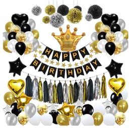 Siyah altın balon çekme bayrak doğum günü düzeni balık kuyruğu bayrak püskül kağıt çiçek topu beş köşeli yıldız balon paketi dekoras ... nereden