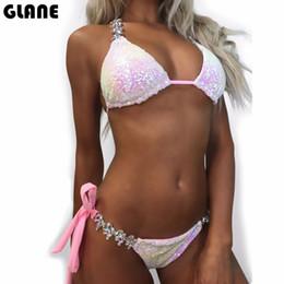 Traje de baño de diamantes sexy online-2018 Nuevos adornos Traje de baño Mujer Lentejuelas Diamante Bikini conjunto Traje de baño Sexy Empuja hacia arriba Piedras Correas Traje de baño Monokini