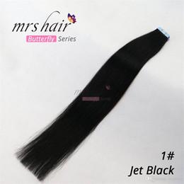 natürliche schwarze bandverlängerung Rabatt MRS Skin Weft Tape in Echthaarverlängerungen 100% brasilianische seidige glatte natürliche Haarverlängerungen tiefschwarz 16-24 20pcs / pack