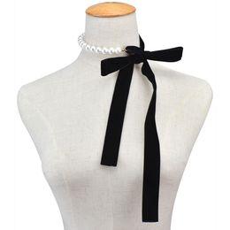 Perle choker halskette band online-Punk Long Wide Black Velvet Ribbon Choker Fliege Simulierte Perle Perlen Charm Kragen Halskette Gothic Schmuck Neujahr Geschenke