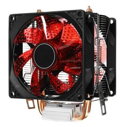 Cpu fan kühler led online-LED Dual Fan 2Heat Pipe Leise CPU-Kühler Kühlkörper für Intel