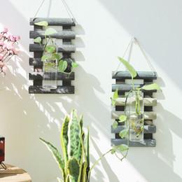 2019 maceteros de tina de metal Planta hidropónica de madera con contenedor de vidrio colgante de pared arreglo floral arreglo floral florero decoración para el hogar balcón