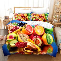 2019 edredons de verão Fruta de verão 3D conjunto de cama capa de edredão jogo de cama realista fronha cama têxteis-lar edredons de verão barato