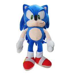 Brinquedo macio sônico on-line-Novo 48 cm Sonic the Hedgehog Mochilas de Pelúcia Saco de Escola Macia Azul Stuffed Figura Boneca Crianças Meninos Meninas Brinquedo de Presente