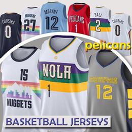 Новый баскетбол джерси онлайн-Зион 1 Уильямсон Майки Пеликан трикотаж 2 мяча Орлеан Джерси 15 Йокич 27 Мюррей 12 Джа Морант Пеликан НКАА баскетбол кофта Нью-2019
