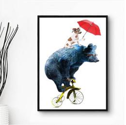 fahrrad malerei öl Rabatt Verkäufe Freies verschiffen WholesalesModern Moderne Einfache Riesige Wandkunst Ölgemälde Auf Leinwand Fahrrad Bär Ungerahmt Room Decor