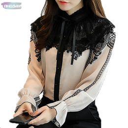 2019 плюс размер органзы tops 2019 модные женские топы новые блузки с длинными рукавами стоять шифон кружева пэчворк рубашки офис леди Flare рукавом блузки D253 25
