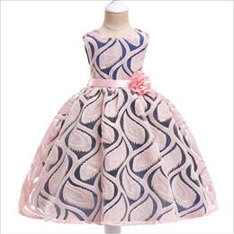 2019 vestiti da cotone flora ragazze Abiti estivi per bambini Fashion Lace Jacquard weave Flower Princess Tutu Bambini Party Dress Designer Abbigliamento Ragazze 3-7 anni