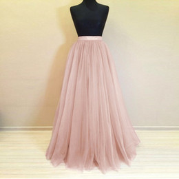 white pink roses photos Promo Codes - Real Photo Long Tulle Skirt Custom Made 5 Layers Rose Pink Maxi Bridesmaid Skirts for Wedding Party Pleated Skirt Plus Size Saia
