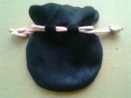 2019 joyas de seda bordada Bolsos de terciopelo negro para joyería con bolsas de cinta rosada aptas para los encantos de Pandora europeos Cuentas pendientes Anillo colgante Bolsa de embalaje