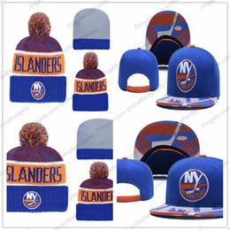 New york beanies on-line-New York Islanders dos homens Hóquei No Gelo Gorro De Malha Bordado Ajustável Chapéu Bordado Snapback Caps Azul Branco Laranja Costurado Chapéu De Malha