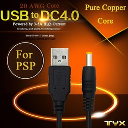 extensões móveis Desconto Cabos de extensão móvel do poder PSP preto que carregam o cabo 20 AWG Tomada masculina do cabo de alimentação USB do fio de AWG à relação de DC4.0 milímetros