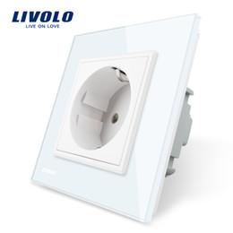 Presa di corrente standard online-Presa di corrente standard UE Livolo, pannello in cristallo bianco, presa di corrente a muro 110 ~ 250V 16A, vetro temperato di lusso