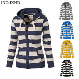 korean hoodie sweatshirt zipper Promo Codes - INDJXND Hooded Striped Women Hoodies Sweatshirts Plus Size Zipper Autumn Tops Long Sleeves Korean Loose Pockets Pullovers Female