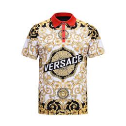 538afabe7 2019 nuevos hombres polos camisas diseñador de moda camisa polo ocasional  bordado serpiente abeja floral de la raya de impresión polos para hombre