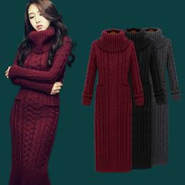 8b22dbea899 Dropshipping зима вязать платья Европа с длинным рукавом пуловеры водолазка  повседневная тонкий теплый Макси свитер платье Женская одежда