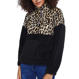 Sweat-shirt floue pull-over en Ligne-Feitong Sweat-shirts à manches longues femmes Leopard Toison Sweat à capuche chaud Zip Fuzzy Pullovers Tops Sweat à capuche