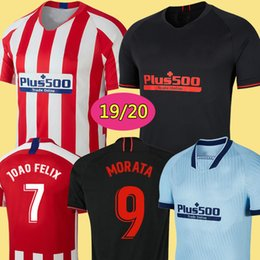Uniforme de fútbol femenino online-JOÃO FÉLIX 19 20 Atlético de Madrid soccer jerseys chandal de fútbol 2019 2020 GRIEZMANN KOKE SAUL CARRASCO DIEGO COSTA LEMAR uniformes de hombres niños de la