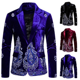 blazers patterns Coupons - 2019 Men Autumn Winter Retro Burgundy Velvet Floral Pattern Suit Jacket Slim Fit Blazer Designs Stage Costumes For Singers
