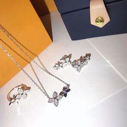 2019 conjuntos de jóias safira azul escuro Luxo S925 Sterling Silver Designer Clássico de Cristal Quatro Folhas Trevo Colar De Pingente de Brincos E Conjunto de Jóias Anel Para As Mulheres de Jóias