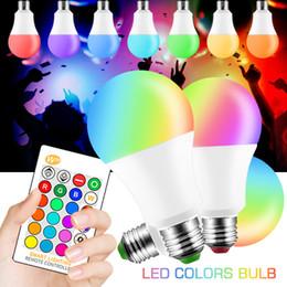 E27 luz del día llevó online-Bombilla LED 5W 10W 15W Cambio de color RGBW RGBWW Lámpara inteligente mágica 110V 220V E27 Control remoto IR de luz diurna